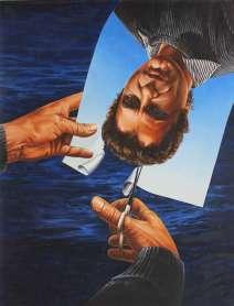 Huile sur toile, 85x125cm. Bruno P coiffeur
